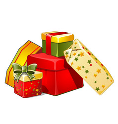 heap of gift boxes with ribbon bow colorful vector image