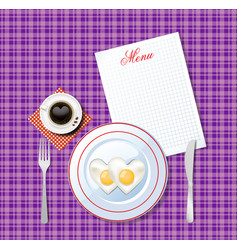heart shaped fried eggs on white plate and cup of vector image