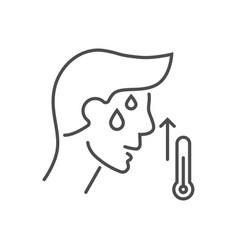 High body temperature line icon vector