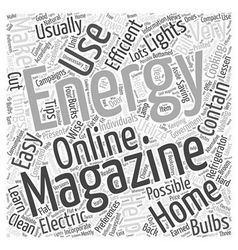 home energy magazine Word Cloud Concept vector image