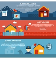 Home security interactive flat banners set vector