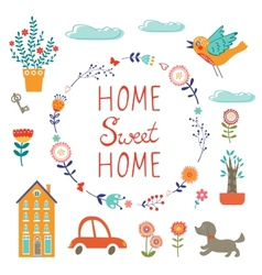 Home sweet home colorful set vector image