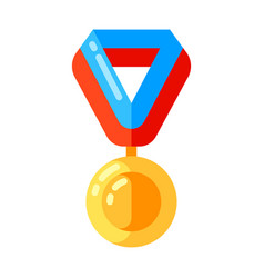 icon gold medal ribbon in flat style vector image