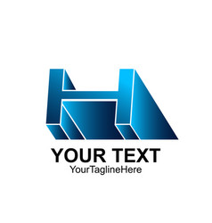 initial letter h logo template colored blue vector image