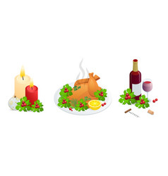 Isometric rustic christmas ornaments roasted vector