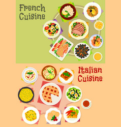 italian and french cuisine dishes icon set design vector image