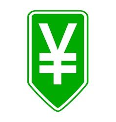 Japan yen symbol button vector