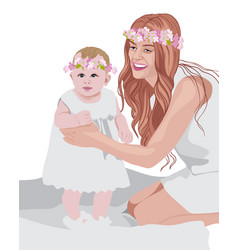Joyful mom and her child wearing white dresses and vector