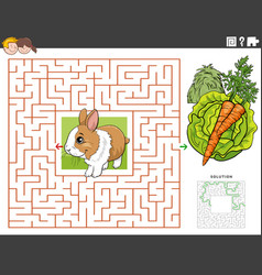 Maze educational game with rabbit with carrot vector