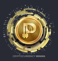 mining peercoin cryptocurrency golden coin vector image