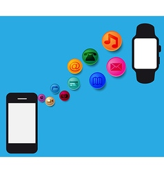 Mobile phones and smart watch vector image