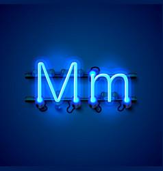 Neon font letter m art design singboard vector
