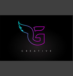 neon g letter logo icon design with creative wing vector image