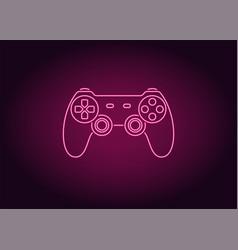 Neon icon of pink joystick vector