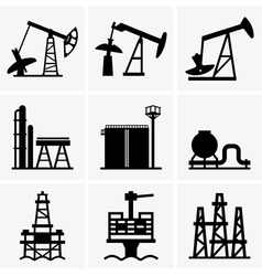 Oil rig and refinery vector image