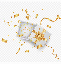 open 3d realistic gift box with gold ribbon and vector image