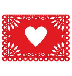 Papel picado design for valentines day vector