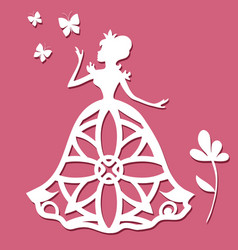 Paper carving princess with butterflies and flower vector