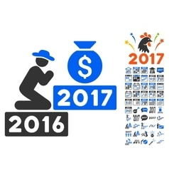 Pray For Money 2017 Icon With 2017 Year Bonus vector image