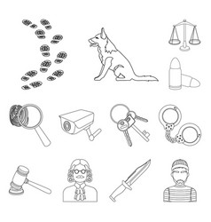 Prison and the criminaloutline icons in set vector