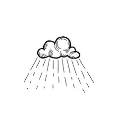 rain icon hand drawn cloud with rain droplets vector image
