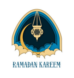 Ramadan kareem greeting card template with arch vector