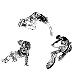 Raper dancer roller and bicyclist on white vector