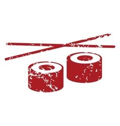 Red grunge sushi logo vector image