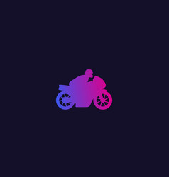 rider on sport motorcycle icon vector image