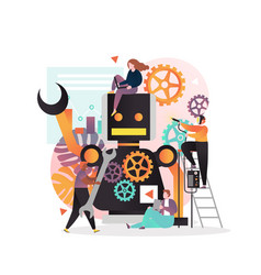 robot creating concept for web banner vector image