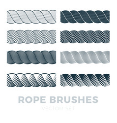 rope brushes frame decorative black line set vector image
