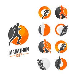 running man silhouette marathon vector image