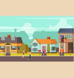 rural street orthogonal background vector image