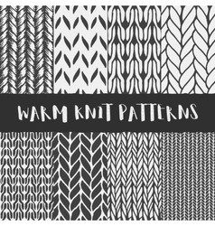 Set of 8 decorative knit seamless patterns vector image