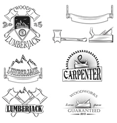 Set of vintage lumberjack labels emblems and desi vector image