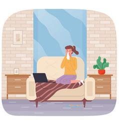 sick girl on self-isolation is working freelance vector image