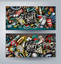 sports hand drawn doodle banners set cartoon vector image