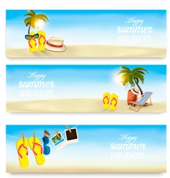 Summer holidays banners Vacation memories vector