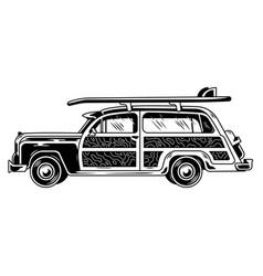 Surfing travel vintage old car vector