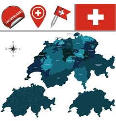 Switzerland map with named divisions vector image