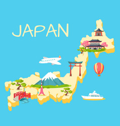 Travel in japan touristic flat concept vector