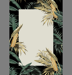 tropical frame a4 layout green golden leaves vector image