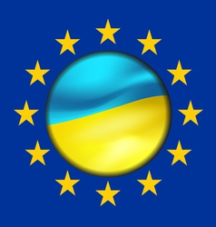 Ukrainian flag and european union vector