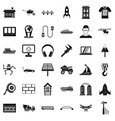 Useful engineering icons set simple style vector