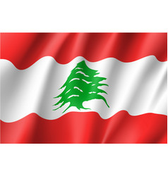 waving flag of lebanese republic vector image