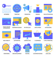Website optimization icon set in flat style vector