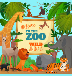 welcome to zoo cartoon poster vector image