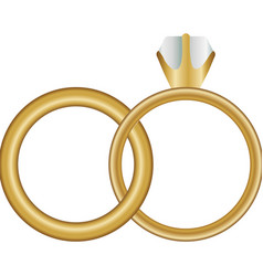 White background with wedding rings vector