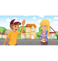 A boy and a girl talking across the neighborhood vector