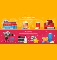 colorful cinema horizontal banners vector image vector image